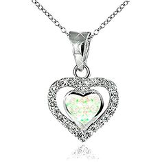 "Opal View Sterling Silver Created White Opal Cubic Zirconia Double Heart Pendant Necklace, 18"" ** Details can be found by clicking on the image."
