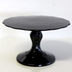 Small Black Scalloped Pedestal-- beautiful & basic $35