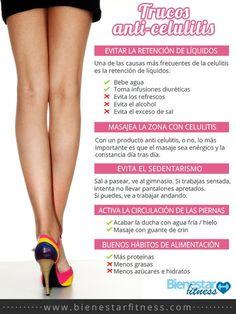 Trucos anti celulitis.  #adelgazar #celulitis #infografía  http://www.bienestarfitness.com/blog/adelgazar/trucos-anti-celulitis/