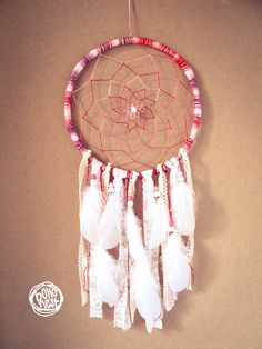 Unique Dream Catcher - Boho Sunset - With Transitional Web and Frame, White Laces and Feathers - Boho Home Decor, Nursery Mobile  #dream #catcher #decor #decoration #hippie #hipster #boho #native #american #indian #tribal #feather #feathers #home #bedroom #nursery #mobile #dreamer #unique #boho nest #gift #sale