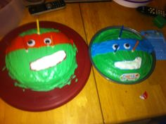 Turtle power!! Birthday cake! Easy and fun to do at home as a family just make sure u have plenty of green food coloring or buy green frosting ;)