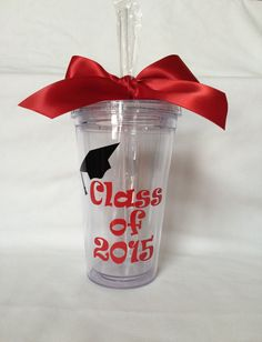 Graduation tumbler Class of 2015 cup and straw by lawler01 on Etsy