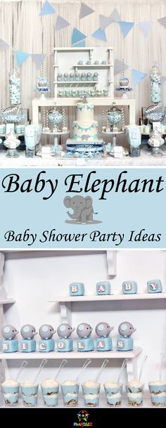Cute Baby Blue Elephant themed Baby Shower party ideas for baby boys. Baby Shower Setup For Boy Budget Baby Shower, Boy Baby Shower Themes, Baby Shower Cards, Baby Shower Parties, Baby Boy Shower, Baby Shower Gifts, Shower Party, Elephant Theme, Elephant Baby Showers