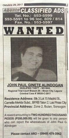 Wanted: JOHN PAU GINETE ALINDOGAN Reward: P200,000.00 #hellokitty #sanrio#biggestfan #novelty #toys #clothing