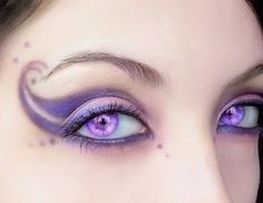 fairy eyes    --Rainbow Cherry would sport such fancy makeup for Poniac Festivals, purple eyes like this would be terrific for Lampos