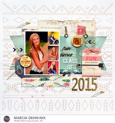 Class Of 2015  - scrapbook layout. Background made with Silhouette sketch pens