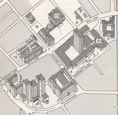 Leicester Polytechnic campus map 1977 Showing the James Went Building, Fletcher…