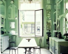 seafoam green and mirrors interior