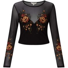 Miss Selfridge Black Embroidered Mesh Top ($60) ❤ liked on Polyvore featuring tops, black, embroidered long sleeve top, mesh panel bodysuit, embroidered tops, long sleeve tops and mesh body suit