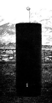 A Colorado Springs experiment: here a grounded tuned coil in resonance with a distant transmitter illuminates a light near the bottom of the picture.