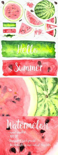 Hello Summer, Banner Template, Watermelon, Clip Art, Hand Painted, Templates, Stencils, Vorlage, Models