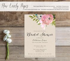 Printable Bridal Shower Invitation - the Rory Collection by HowLovelyPaper on Etsy https://www.etsy.com/ca/listing/231036362/printable-bridal-shower-invitation-the