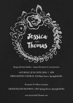 An Artsy And Elegant Chalkboard Style Wedding Invitation And Matching Rsvp Card Featuring A Hand Drawn