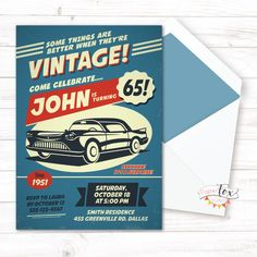 60th birthday invitation / 70th birthday invitation / Birthday invitation for men / Classic Car / 60th surprise birthday / MEN / PRINTABLE by PaperFoxStudios on Etsy https://www.etsy.com/listing/294981079/60th-birthday-invitation-70th-birthday