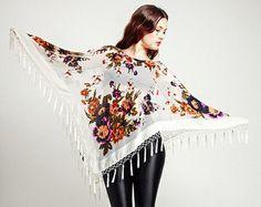 White Velvet Fringe Poncho Kimono - Gypsy Woman Poncho