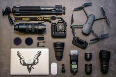 Sweet gear setup featuring the DJI Mavic drone!  Photo by @headshotbe #camera #gear #nikon #nikonlove #cameras #lens #dji #drones #teamnikon #sweet #flatlay #tech