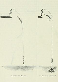 OLYMPIC DIVING DIAGRAMS (1912)  Diagrams showing the trajectory of the major dives as performed at the 1912 Olympics in Stockholm.     (All images taken from The Fifth Olympiad: the Official Report of the Olympic Games of Stockholm 1912 housed by the Internet Archive, donated by the University of Toronto).
