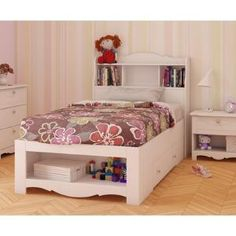Nexera Dixie Storage Bed and Bookcase Headboard $614.44 by Wayfair Girls Bedroom Furniture, Kids Bedroom Sets, Bedroom Ideas, Bookcase Headboard, Headboard With Shelves, Bed Shelves, Kids Storage, Kid Beds, Girls Twin Bed