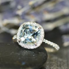 Halo Diamond Aquamarine Engagement Ring in 14k by LaMoreDesign