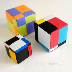 Origami Cube, quiet elegance and mathematical beauty. Step-by- step video to make the Mondrian Cube, a modular origami created by David Mitchell. Origami Pig, Origami Cube, Origami Star Box, Origami Dragon, Modular Origami, Paper Crafts Origami, Origami Easy, Oragami, Paper Crafting