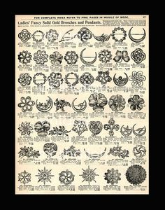 Vintage Print 1906 Antique JEWELRY CHART by VintageInclination, $12.00