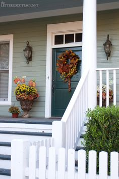 Front Porch Decor for Fall Front Door Colors, Front Door Decor, Front Porch, Front Doors, Porch Enclosures, Cottage Porch, Porch Doors, Porch Decorating, House Colors