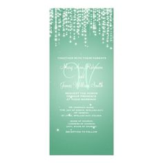 Elegant Wedding Night Dazzle Mint Green Custom Invitations