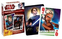 Star Wars Clone Wars Heroes & Villains Playing Cards - Portraits by Star Wars. $1.27. Introducing a new generation of Heroes and Villains - from Star Wars: The Clone Wars. Playing cards feature only the coolest characters from Season 1 and Season 2 of Star Wars: The Clone Wars. Portraits Playing Cards feature 55 portraits of your favorite of Heroes and Villains. Heroes & Villains are on the Hearts & Diamonds, and Villains appear on the Spades & Clubs.