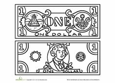 money coloring pages for kindergarten   Twenty Dollar Bill Coloring Page   Money Matters!   Money ...
