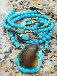 Long Turquoise Blue Agate Slab Necklace $150 contact me to purchase this necklace at kelly@xogallery.com