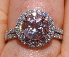 Morganite Wedding Set, Engagement Ring with White and Rose Gold Double Diamond Halo and Wedding Band, by JuliaBJewelry