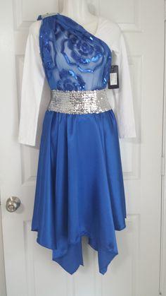 complete set: leotard, belt, flower overlay and satin hankie skirt.