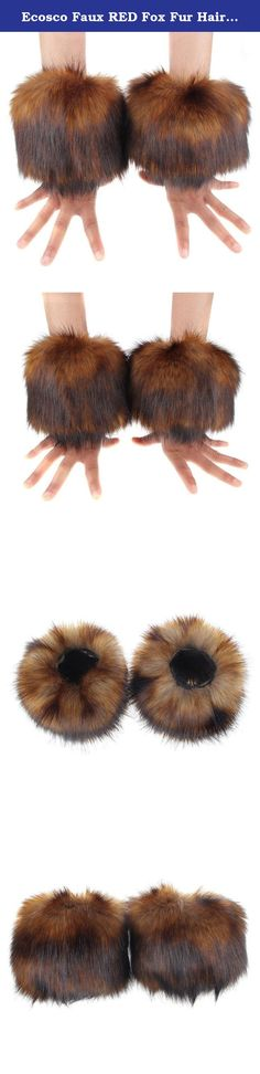 Ecosco Faux RED Fox Fur Hair Soft Wrist Band Ring Cuff Cozy Fuzzy Warmer. • Fashion, stylish, versatile, soft, stretch, and comfy • Dry clean only. Do not wash,bleach or iron. Easily scrunched into boots • One pair per pack.