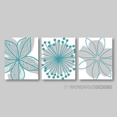 Turquoise+Blue+Gray+Flower+Print+Trio++Home+by+RhondavousDesigns2,+$20.00
