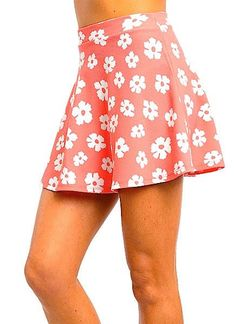66846bd2930 Sexy Coral Pink Floral Flower Sunflower Full High Waisted Skater Skirt New   other  FullSkirt