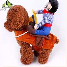 Dog Coat Mounted On Horse Pattern Autumn Winter Cute Dog Sets Clothes Blue Change Outfit Pet Dog Cat Clothes Size S-XL Hot Sale