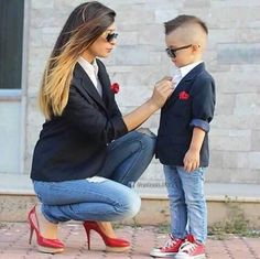 Who said moms can only match with their daughters? #momandson #kidsfashion #momfashion