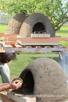 DIY Wood Fired Outdoor Pizza Oven {Simple Earth Oven in 2 days!} Great DIY wood fired outdoor pizza oven with simple low cost materials! Step by step cob / earth oven building tutorial, a free ebook, & helpful resources! Clay Pizza Oven, Pizza Oven Kits, Clay Oven, Pizza Ovens, Pizza Oven Outdoor, Outdoor Kitchen Bars, Outdoor Cooking, Outdoor Kitchens, Oven Diy