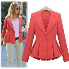Inspiração: modelagem lindíssima. Faria em outra cor...  Morpheus Boutique  - Red Lady Trendy Shoulder Long Sleeve Pleated Suit Jacket