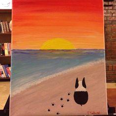 Boston terrier sunset