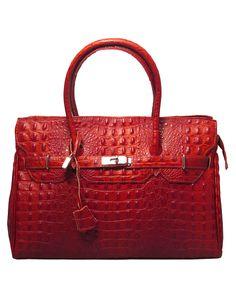 Gloria red embossed leather tote bag by Leonardo Farnesi on secretsales.com