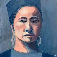 Portrait femme Hmong peinture acrylique et pigments par Ullice