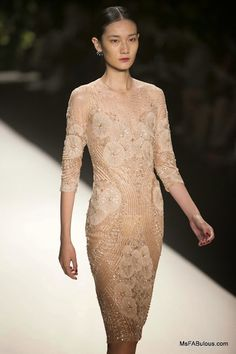 gorgeous nude crystal embroidery on Naeem Khan Spring 2014 runway