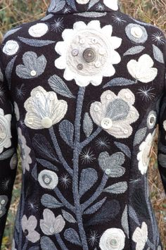 Winter Garden Coat, back.  Felted Knitting with appliqué and embroidery.  2008, Teresa Searle