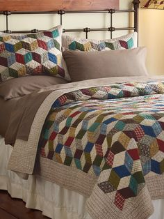 Want to try the tumbling block quilt pattern.  Its classic, and gives me the opportunity to use lots of scraps