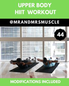 Are you ready to tone and sculpt your entire upper body? Try this full workou. Fitness Workouts, Upper Body Hiit Workouts, Full Body Hiit Workout, Hitt Workout, Hiit Workout At Home, Gym Workout Videos, Fitness Workout For Women, Fitness Tips, Workout Diet