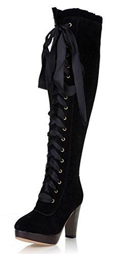Magic Women/'s Boots Knee High Lace Up Stacked Heels Tall Riding Chivalry Boots