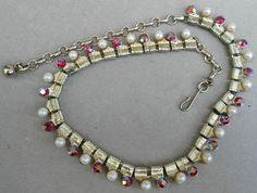 Coro Choker #Necklace Red AB #Rhinestones Pearls c1950s Gold Links Hook Adjustable #Coro #Choker
