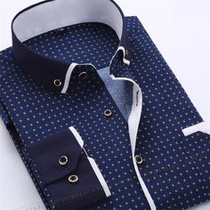 New Dress Fashion Quality Long Sleeve Shirt Men Slim Design,Formal Casual Male Dress Shirt Autumn Printed Men Shirt Long Sleeve Male Business Casual Fashion Formal Dress Shirts Slim Fit Camisa Plus Size Casual Mode, Style Casual, Men Casual, Smart Casual, Business Shirts, Business Casual, Social Business, Business Men, Formal Shirts For Men