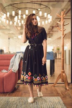 Black Boho Embroidery Dress with Tassels : Beautiful Black Dress with Colorful Embroidery Details all over. Colorful tassels adds a touch Casual Day Dresses, Stylish Dresses For Girls, Summer Dress Outfits, Simple Dresses, Classy Outfits, Dress Indian Style, Indian Fashion Dresses, Indian Designer Outfits, Girls Fashion Clothes